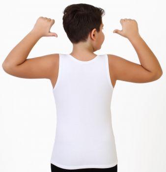 3'lü Çocuk Askılı Havlu Atlet - Erkek -Beyaz 3 Adet